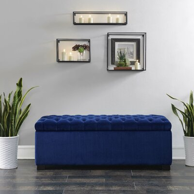 Mabel Shoe Upholstered Storage Bench Color: Navy Blue