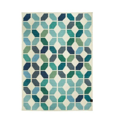 Classic Collection Hand-Woven White/Aqua Area Rug