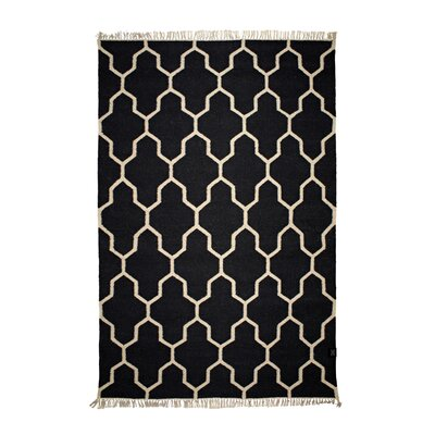 Classic Collection Hand-Woven Black/Aqua Area Rug