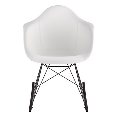 Rocking Chair Upholstery: Milano White, Color: Walnut
