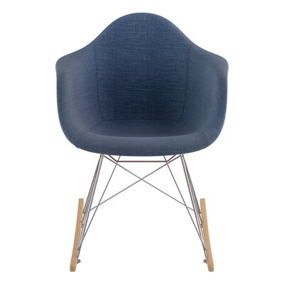 Rocking Chair Upholstery: Dodger Blue, Color: Nickel