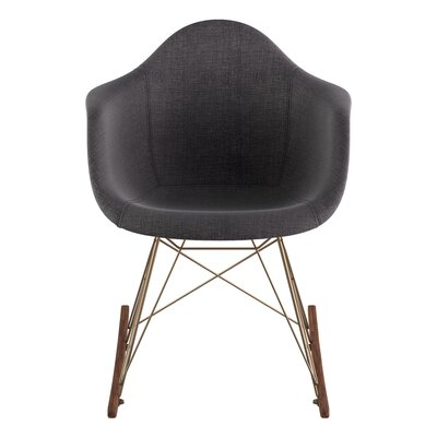 Rocking Chair Upholstery: Charcoal Gray, Color: Brass