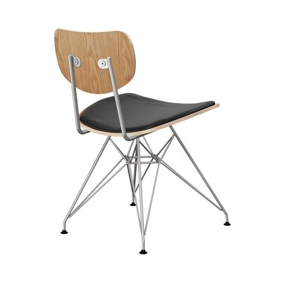 Clowe Upholstered Dining Chair Upholstery: Milano Black, Leg Color: Chrome, Frame Color: Natural