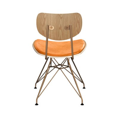 Clowe Upholstered Dining Chair Upholstery: Weathered Whiskey, Leg Color: Brass, Frame Color: Natural