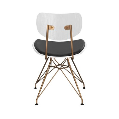 Clowe Upholstered Dining Chair Upholstery: Milano Black, Leg Color: Brass, Frame Color: White
