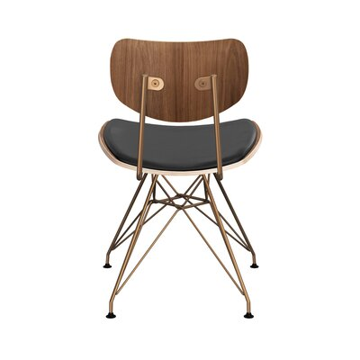 Clowe Upholstered Dining Chair Upholstery: Milano Black, Leg Color: Brass, Frame Color: Walnut