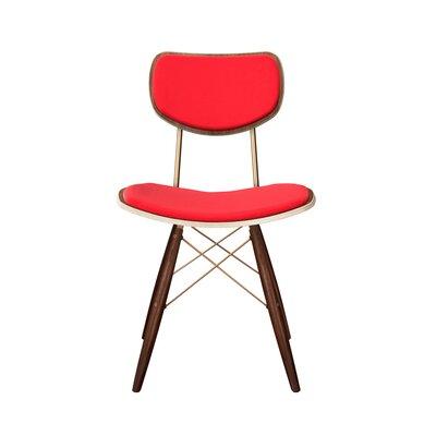 Doddridge Upholstered Dining Chair Upholstery: Vibrant Red, Leg Color: Brass, Frame Color: Walnut