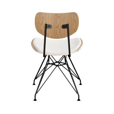 Clowe Upholstered Dining Chair Upholstery: Milano White, Leg Color: Black, Frame Color: Natural