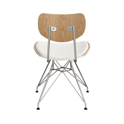 Clowe Upholstered Dining Chair Upholstery: Milano White, Leg Color: Chrome, Frame Color: Natural