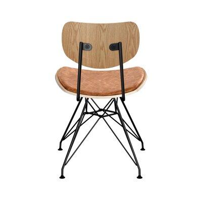 Clowe Upholstered Dining Chair Upholstery: Burnt Orange, Leg Color: Black, Frame Color: Natural
