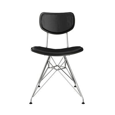 Clowe Upholstered Dining Chair Upholstery: Milano Black, Frame Color: Black, Leg Color: Chrome
