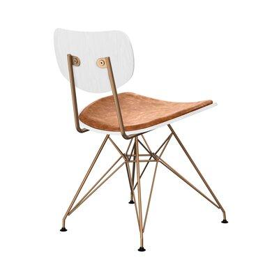 Clowe Upholstered Dining Chair Upholstery: Burnt Orange, Leg Color: Brass, Frame Color: White
