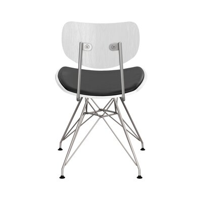 Clowe Upholstered Dining Chair Upholstery: Milano Black, Leg Color: Chrome, Frame Color: White
