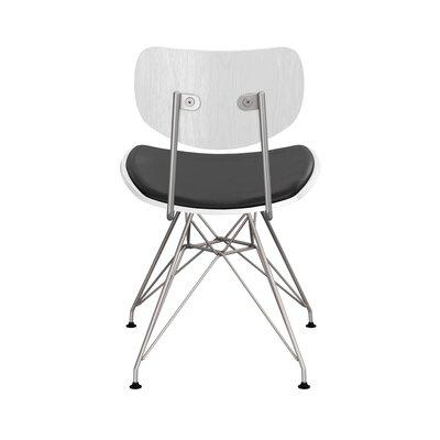 Clowe Upholstered Dining Chair Upholstery: Milano Black, Leg Color: Chrome, Frame Color: White