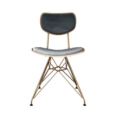 Chapp Upholstered Dining Chair Leg Color: Brass, Frame Color: Walnut