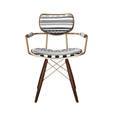 Barnfield Upholstered Dining Chair Frame Color: Brass, Leg Color: Walnut