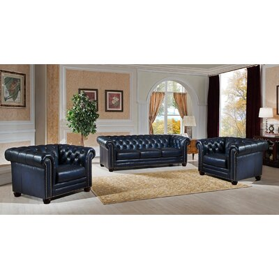 Nebraska 3 Piece Leather Living Room Set