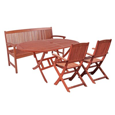 Harms Import Stockholm Extendable Dining Table and 2 Chair and Bench