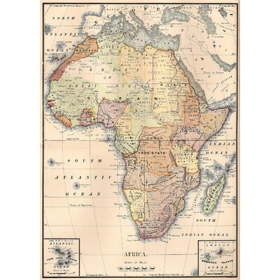 LivCorday Vintage Map of Africa Graphic Art Wrapped on Canvas