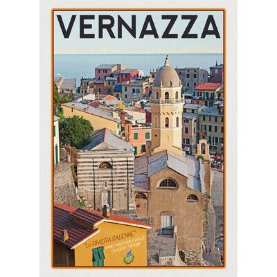 LivCorday Vernazza Travel Vintage Advertisement Wrapped on Canvas
