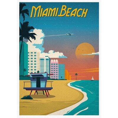 LivCorday Miami Travel Vintage Advertisement Wrapped on Canvas