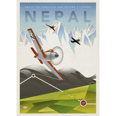LivCorday Nepal Travel Vintage Advertisement Wrapped on Canvas