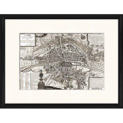 LivCorday Paris Vintage Map 2 Framed Graphic Art
