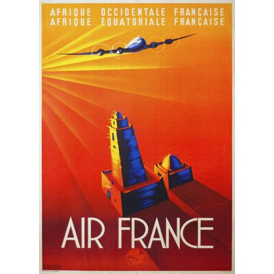 LivCorday Air France Travel Vintage Advertisement Wrapped on Canvas