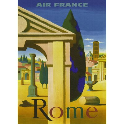 LivCorday Rome Travel Vintage Advertisement Wrapped on Canvas