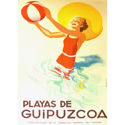LivCorday Playa de Guipuzcoa Vintage Advertisement Wrapped on Canvas