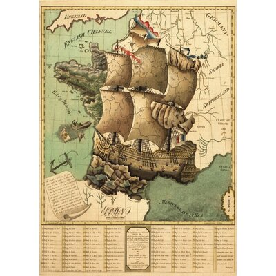 LivCorday Vintage French Sailing Map Graphic Art Wrapped on Canvas