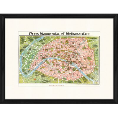 LivCorday Paris Vintage Map 1 Framed Graphic Art
