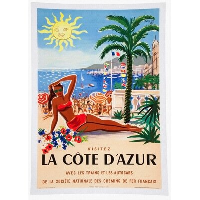 LivCorday Cote d'Azur Travel Vintage Advertisement Wrapped on Canvas