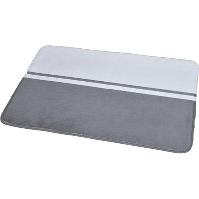 "Printed Bath Rug Size: 23.62"" x 35.43"", Color: White / Gray"