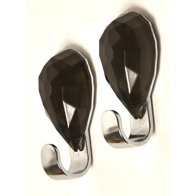 Chromed Self Adhesive Hooks with Diamond Decoration Color: Dark Gray
