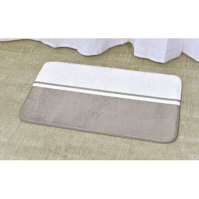 """Printed Bath Rug Color: White / Taupe, Size: 17"""" x 29.5"""