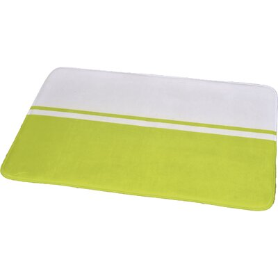 """Printed Bath Rug Size: 23.62"""" x 35.43"""", Color: White / Lime Green"""