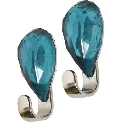 Chromed Self Adhesive Hooks with Diamond Decoration Color: Turquoise Blue