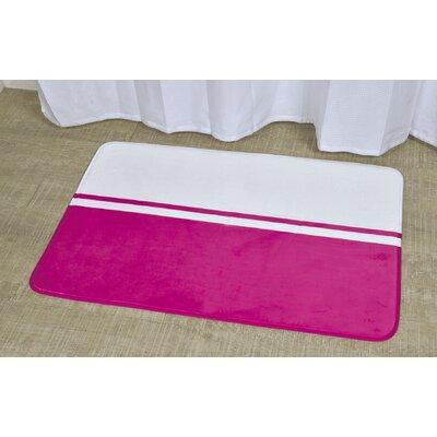 "Printed Bath Rug Size: 23.62"" x 35.43"", Color: White / Fuchsia"