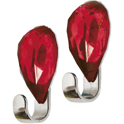 Chromed Self Adhesive Hooks with Diamond Decoration Color: Red