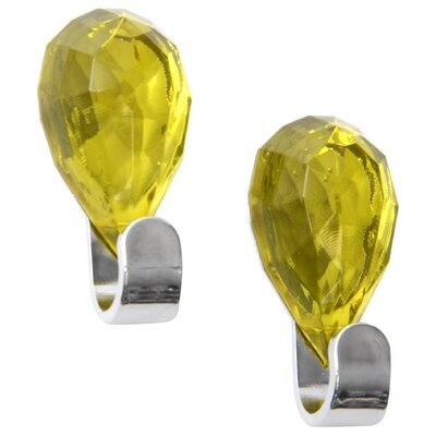 Chromed Self Adhesive Hooks with Diamond Decoration Color: Green