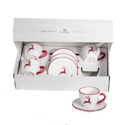 Gmundner Keramik 8-tlg. Teeservice Gourmet Hirsch