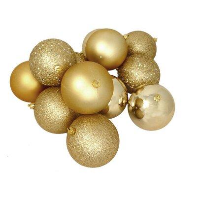 16 Piece Shatterproof Christmas Ball Ornament Set Color: Vegas Gold