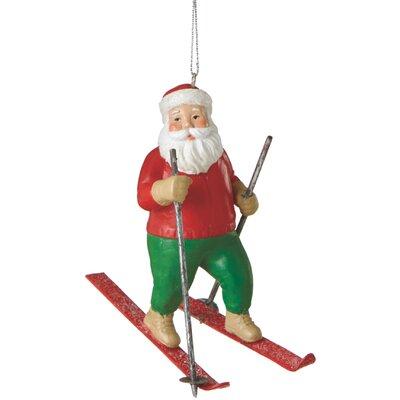 Santa Skier Ornament