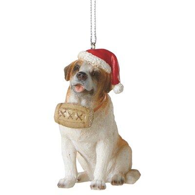 St. Bernard with Santa Hat Ornament