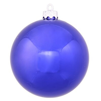 "UV Drilled Shiny Ball Ornament Size: 4.75"", Color: Cobalt Blue"