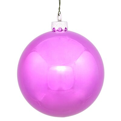 "UV Drilled Shiny Ball Ornament Size: 4.75"", Color: Orchid Pink"
