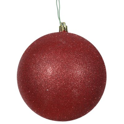 Gliter Christmas Ball Ornament with Cap Color: Red
