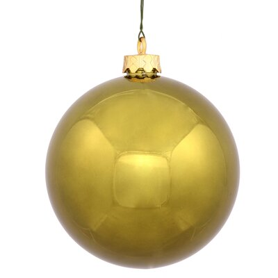 "UV Drilled Shiny Ball Ornament Size: 4.75"", Color: Olive"