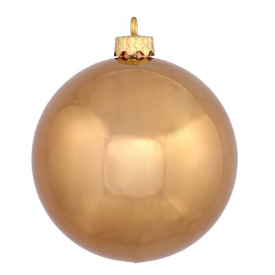"UV Drilled Shiny Ball Ornament Size: 4.75"", Color: Mocha"